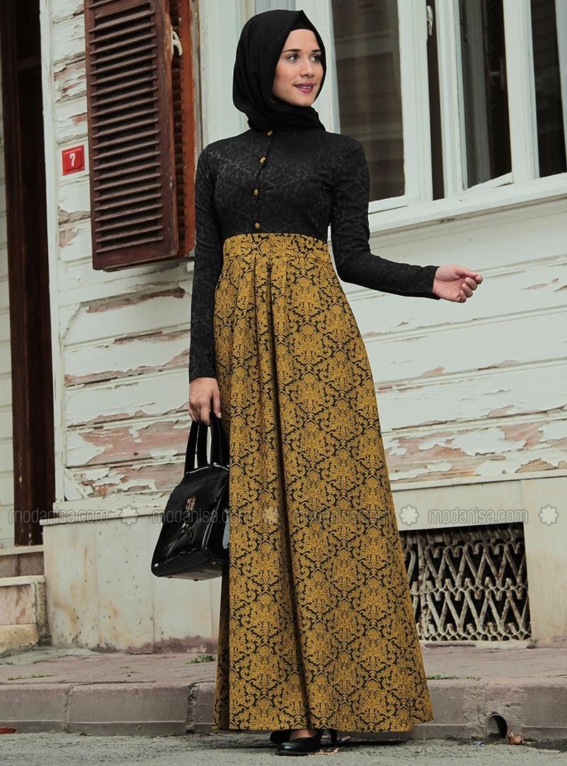 z-brokar-desenli-yarim-dugmeli-elbise--hardal-siyah--ra-zeynep-bilyay-90480-5