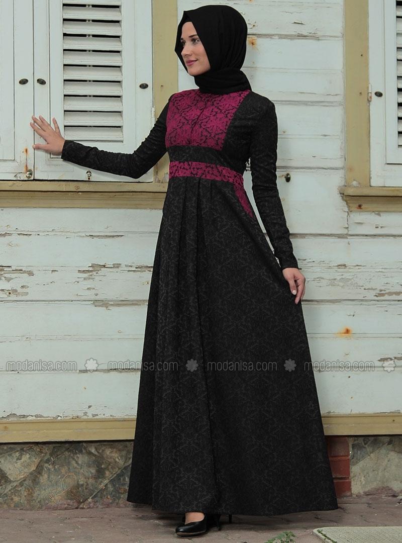 z-brokar-desenli-yarim-dugmeli-elbise--siyah-fusya--ra-zeynep-bilyay-90481-4