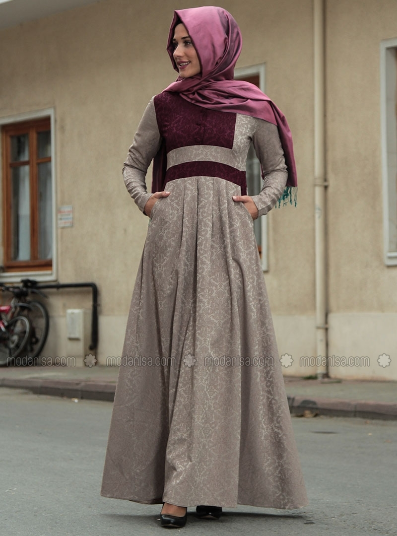 z-brokar-desenli-yarim-dugmeli-elbise--vizon-murdum--ra-zeynep-bilyay-90482-3