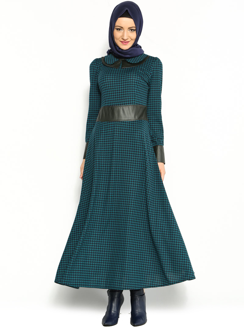 beli-deri-kazayagi-elbise--petrol-beha-tesettur-100370-1