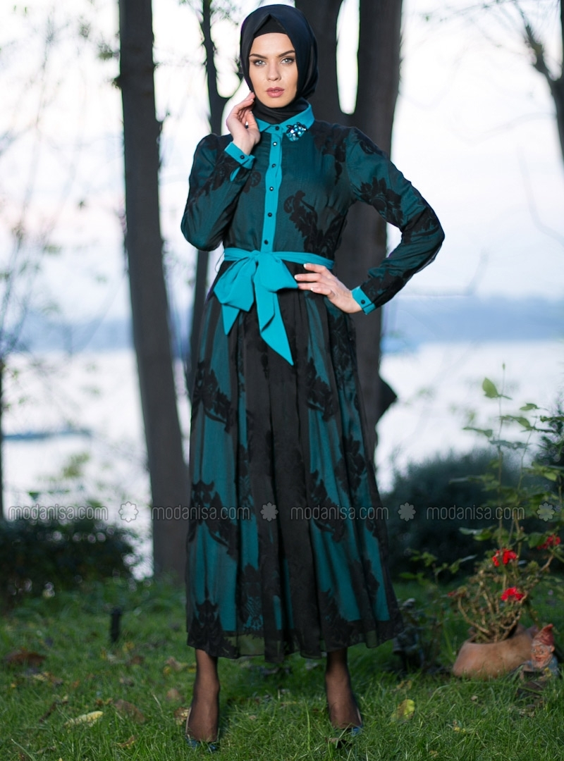 z-damask-desenli-elbise-turkuaz--etrucci-95934-1