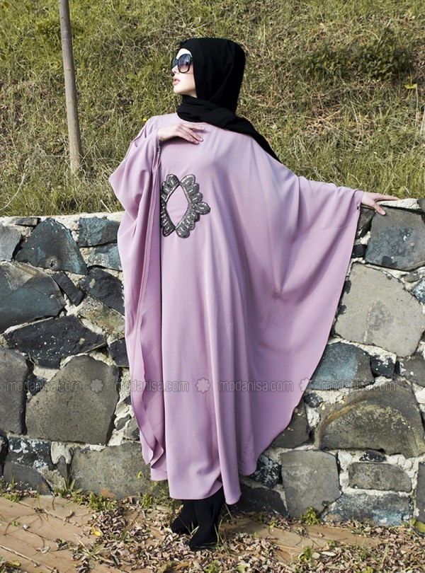 z-tas-islemeli-elbise--pudra-cift-yaka-gumus--ferace-by-arzu-ergen-101501-1