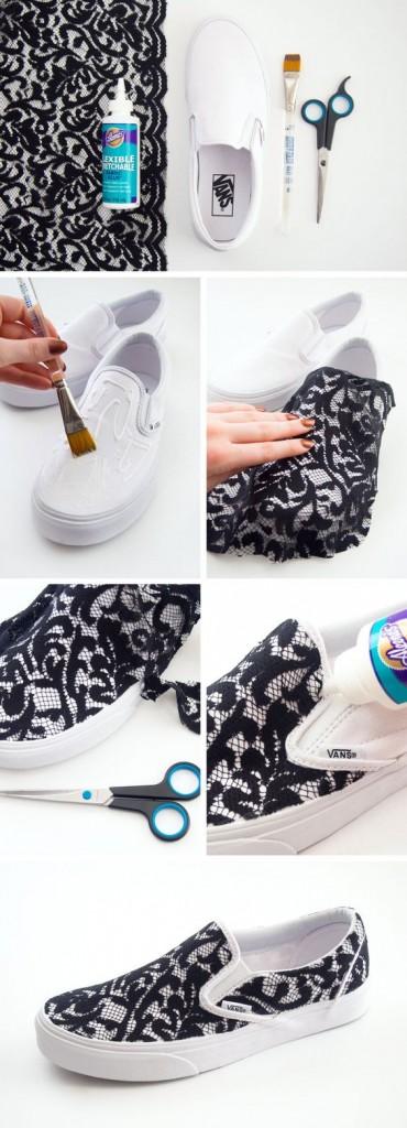 dantel ile ayakkabı kaplama