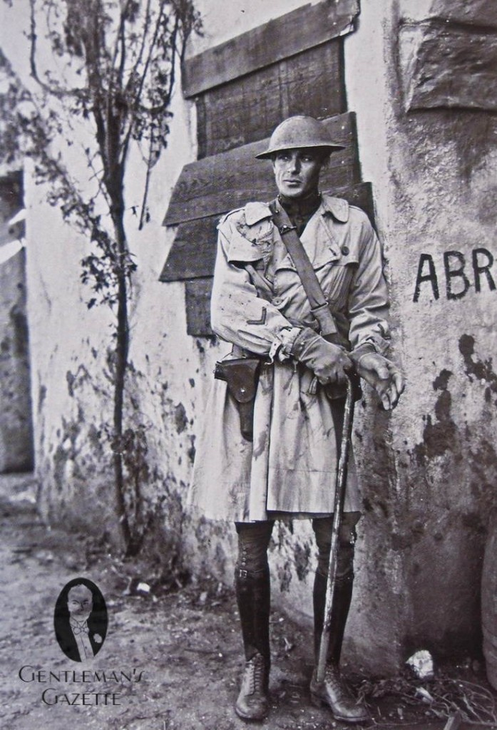 Soldier-in-Over-Knee-Length-Trench-Coat