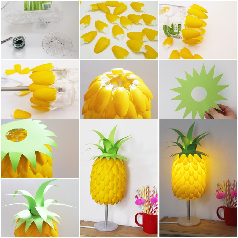 pineapple-lamp-from-plastic-spoons