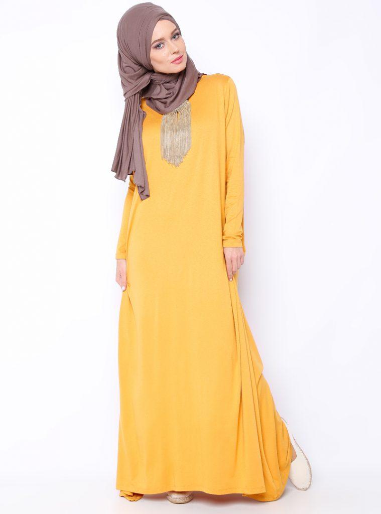 tek-renk-elbise--safran--everyday-basic-192065-1
