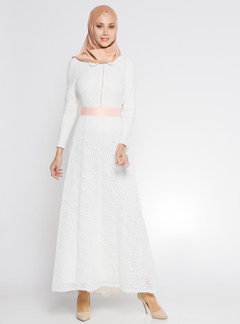 Dantelli Elbise Beyaz